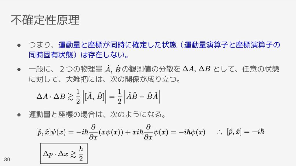 不確定性原理 ● つまり、運動量と座標が同時に確定した状態(運動量演算子と座標演算子の 同時固...