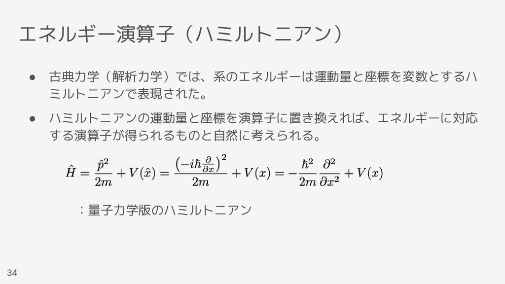 エネルギー演算子(ハミルトニアン) ● 古典力学(解析力学)では、系のエネルギーは運動量と座標...