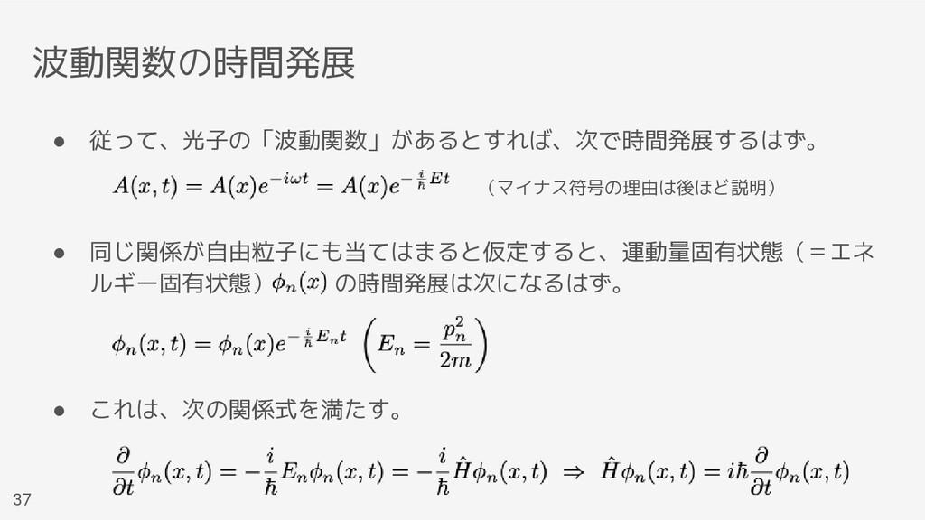 波動関数の時間発展 ● 従って、光子の「波動関数」があるとすれば、次で時間発展するはず。 ● ...