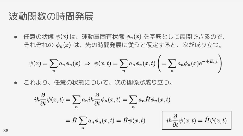 波動関数の時間発展 ● 任意の状態   は、運動量固有状態   を基底として展開できるので、 ...