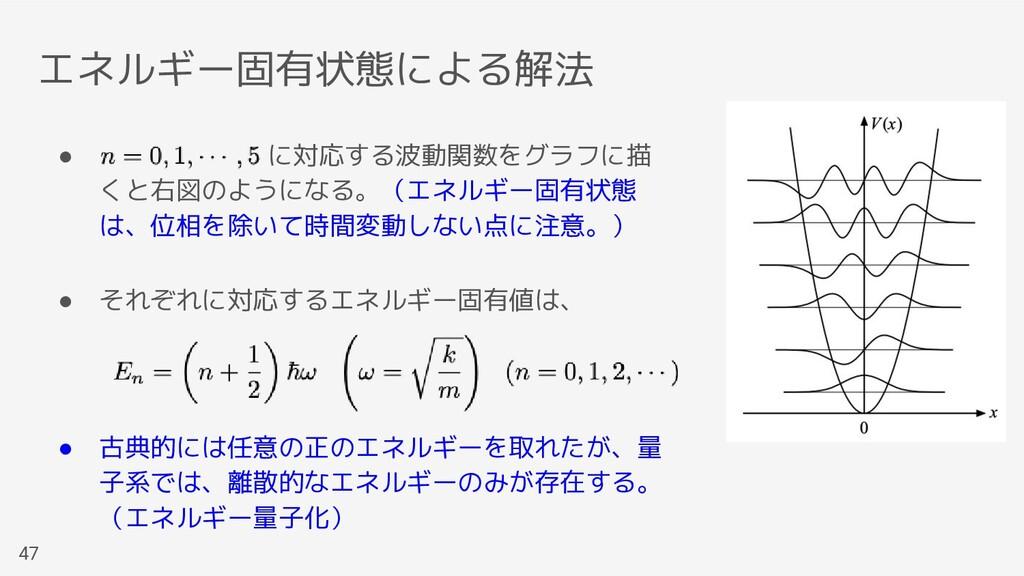 エネルギー固有状態による解法 47 ●        に対応する波動関数をグラフに描 くと右図...