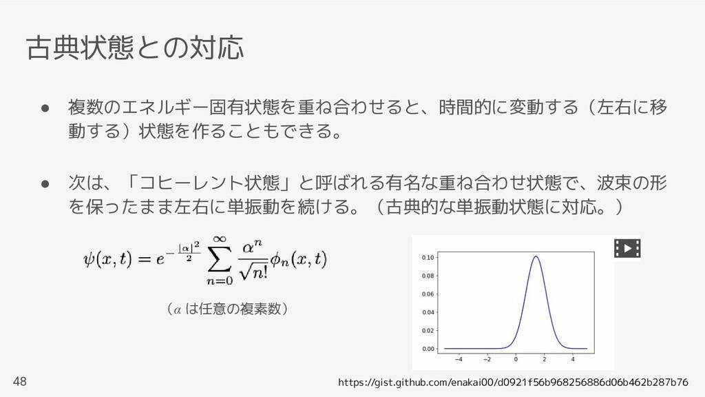 古典状態との対応 48 ● 複数のエネルギー固有状態を重ね合わせると、時間的に変動する(左右に...