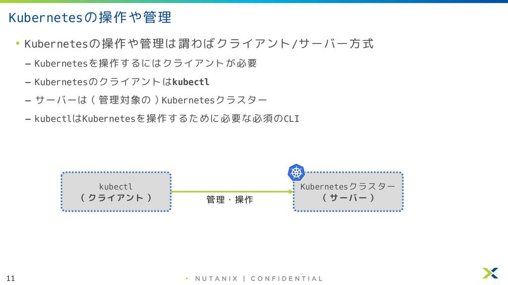 11 • Kubernetesの操作や管理 • Kubernetesの操作や管理は謂わばクライ...