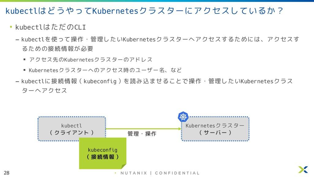 28 • kubectlはどうやってKubernetesクラスターにアクセスしているか? • ...