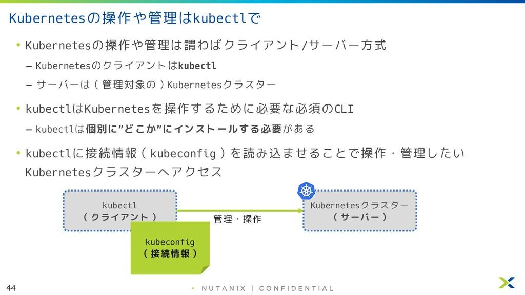 44 • Kubernetesの操作や管理はkubectlで • Kubernetesの操作や...