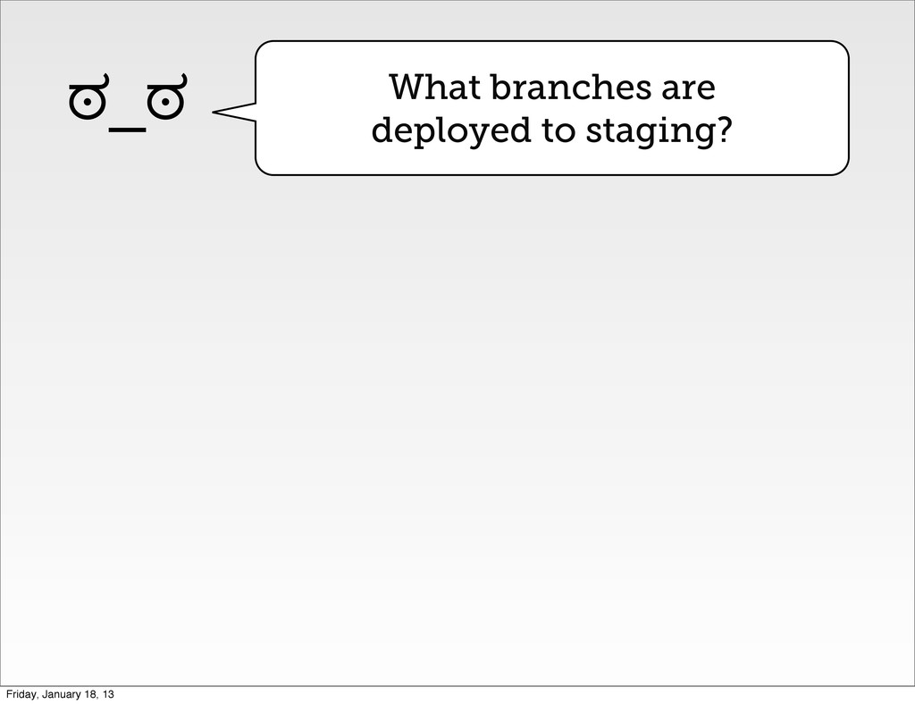 What branches are deployed to staging? ಠ_ಠ Frid...