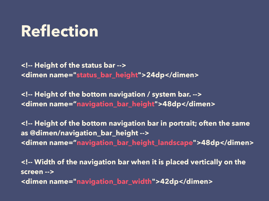 Reflection <!-- Height of the status bar --> <di...