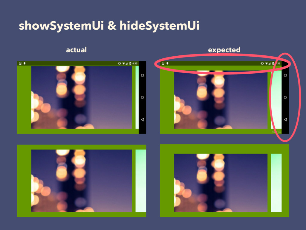 showSystemUi & hideSystemUi actual expected
