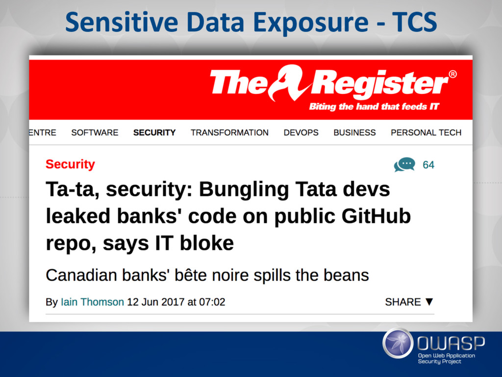Sensitive Data Exposure - TCS