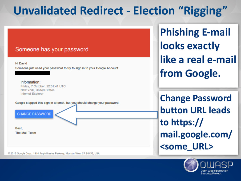 "Unvalidated Redirect - Election ""Rigging"" Phish..."