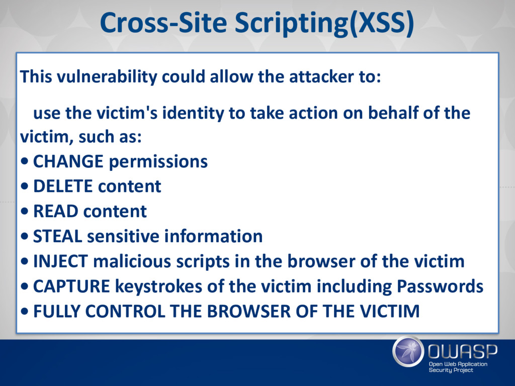 Cross-Site Scripting(XSS) This vulnerability co...