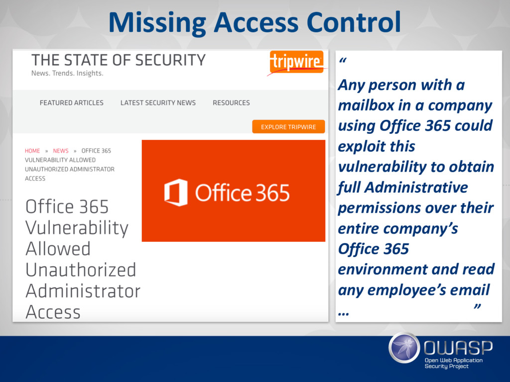 """Missing Access Control """" Any person with a mail..."""