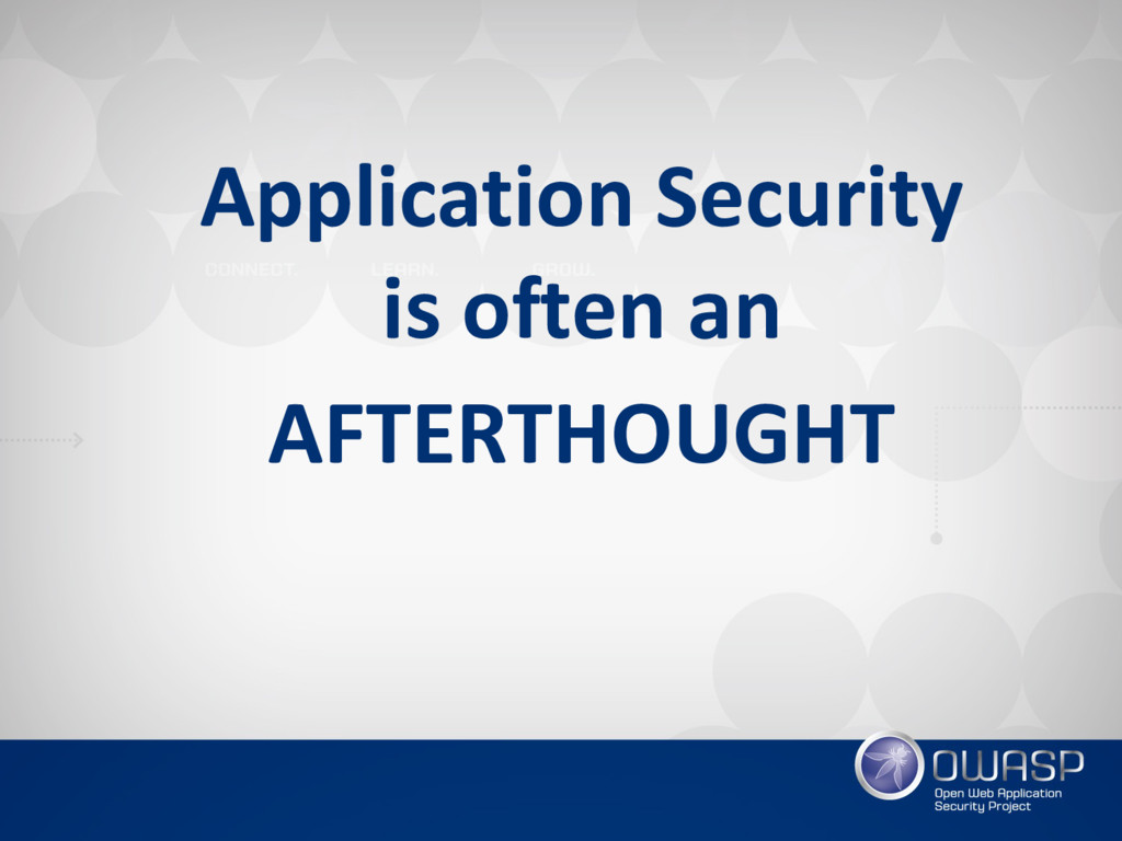 Application Security  is often an AFTERTHOUGHT