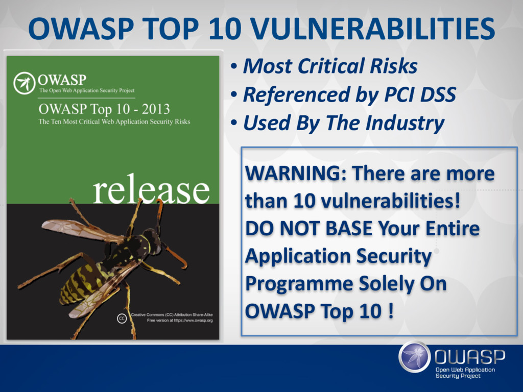 • Most Critical Risks • Referenced by PCI DSS •...