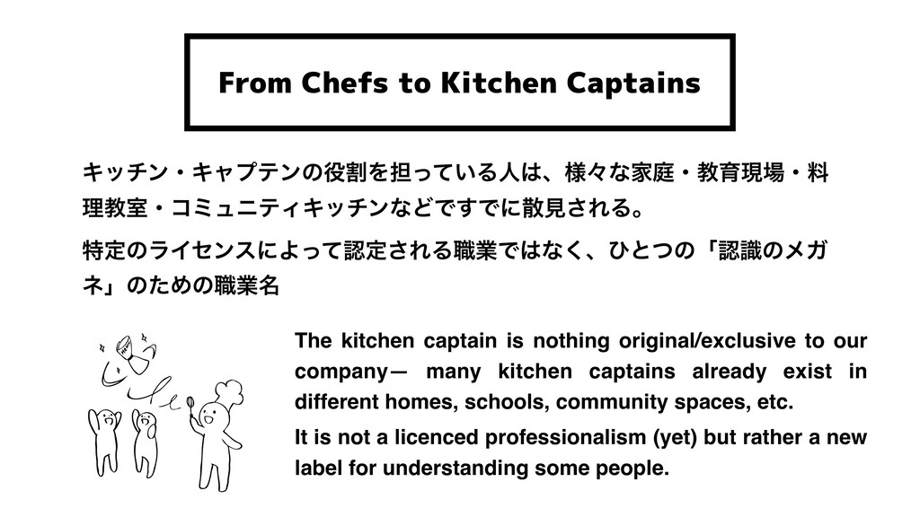 From Chefs to Kitchen Captains ΩονϯɾΩϟϓςϯͷ໾ׂΛ୲ͬ...