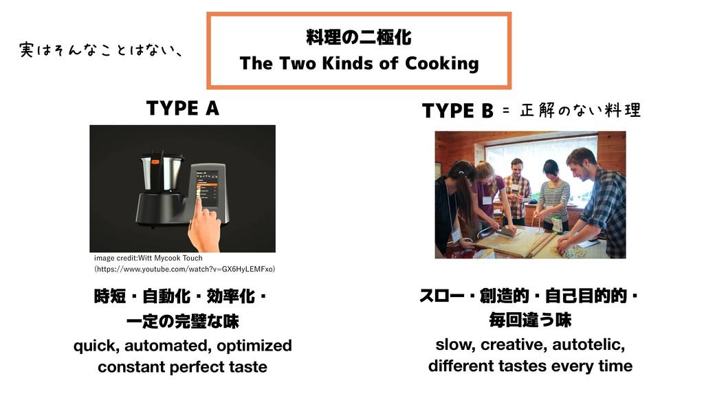 料理の二極化 The Two Kinds of Cooking TYPE B スロー・創造的・...