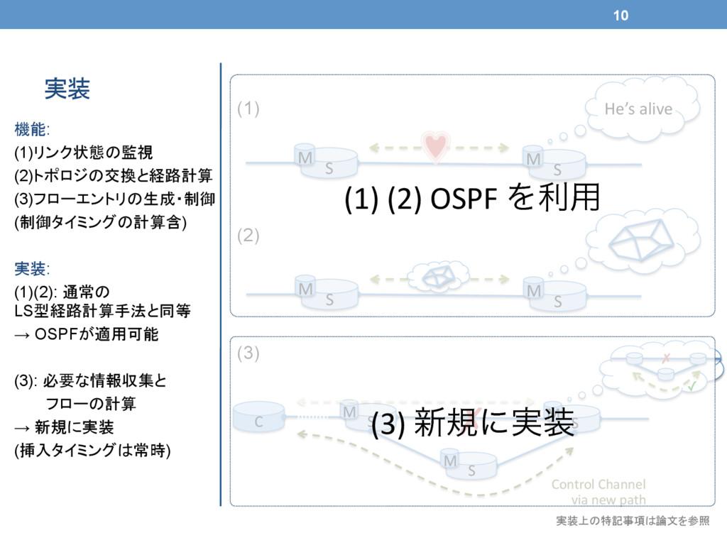 機能: (1)リンク状態の監視 (2)トポロジの交換と経路計算 (3)フローエントリの生成・制...