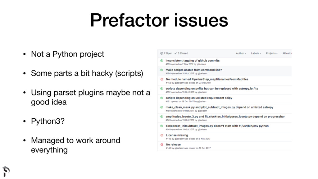 Prefactor issues • Not a Python project  • Some...