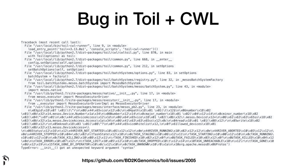 Bug in Toil + CWL Traceback (most recent call l...