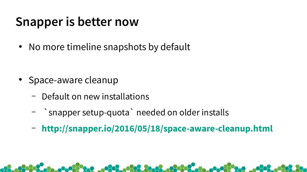 Snapper is better now ● No more timeline snapsh...