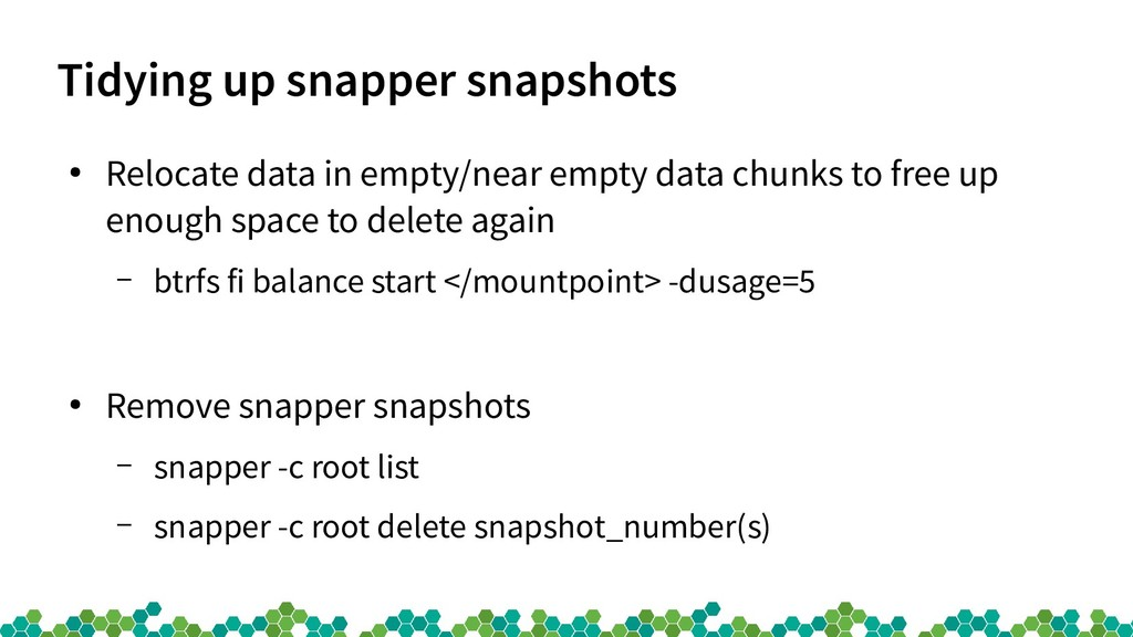 Tidying up snapper snapshots ● Relocate data in...