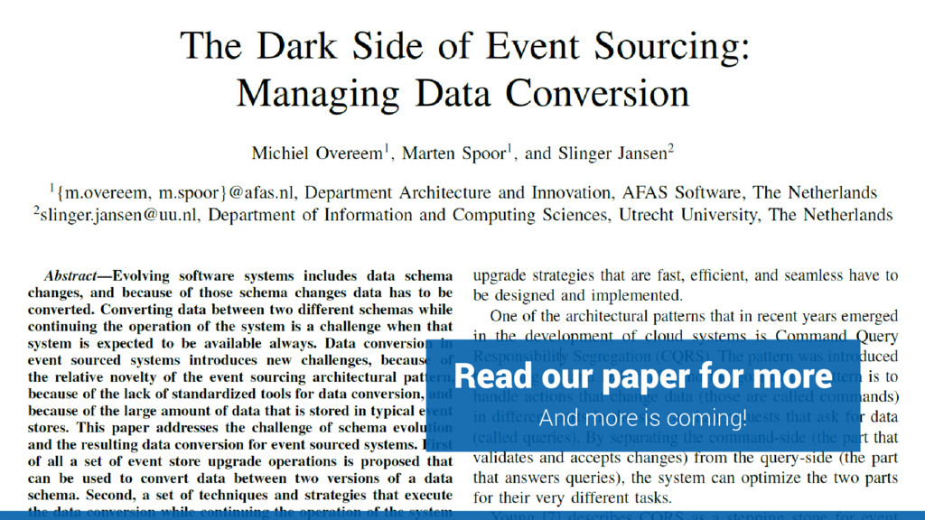 Read our paper for more en And more is coming!