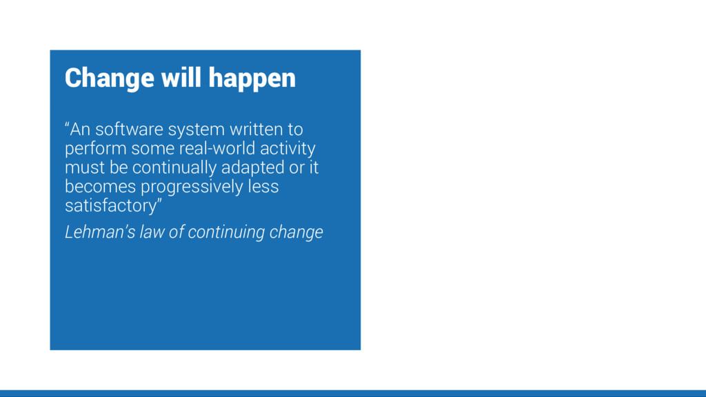 "Change will happen ""An software system written ..."