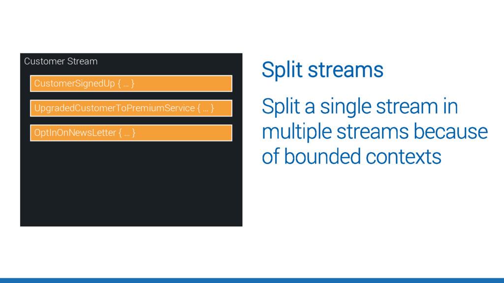 Customer Stream CustomerSignedUp { … } Upgraded...