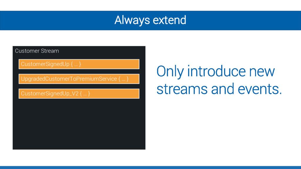 Always extend Customer Stream CustomerSignedUp ...