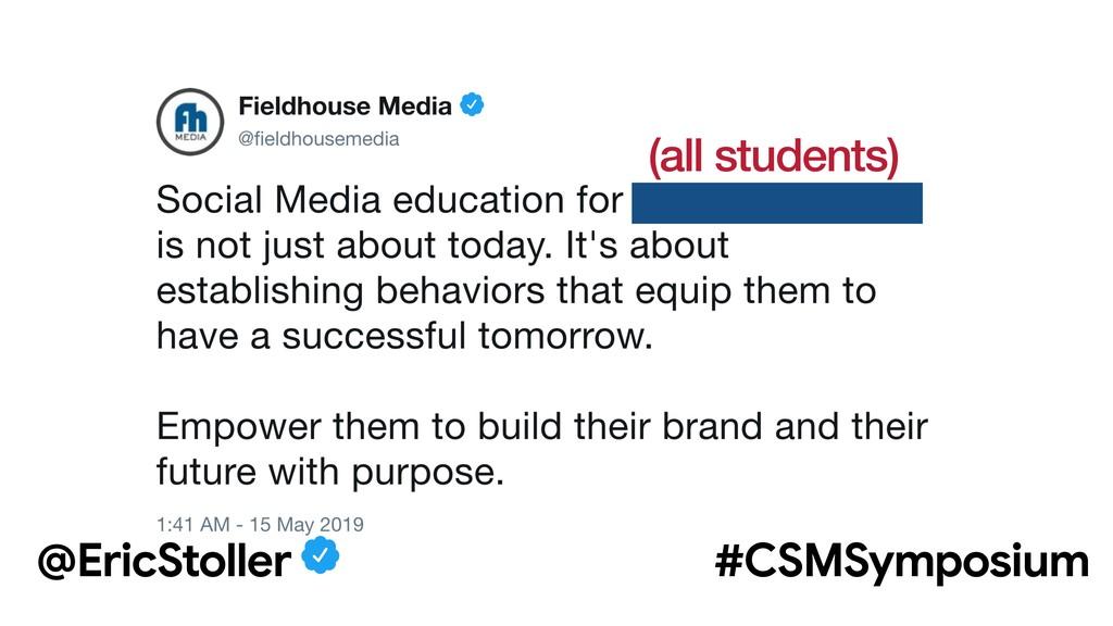 (all students) @EricStoller #CSMSymposium