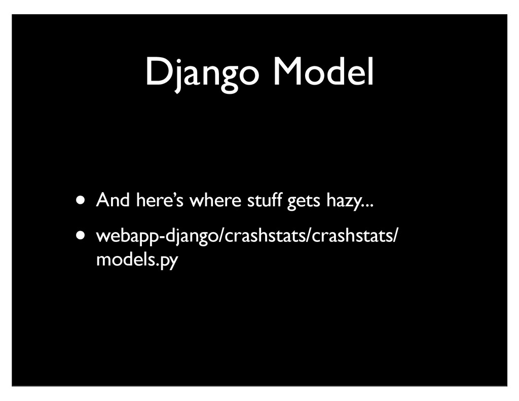 Django Model • And here's where stuff gets hazy...