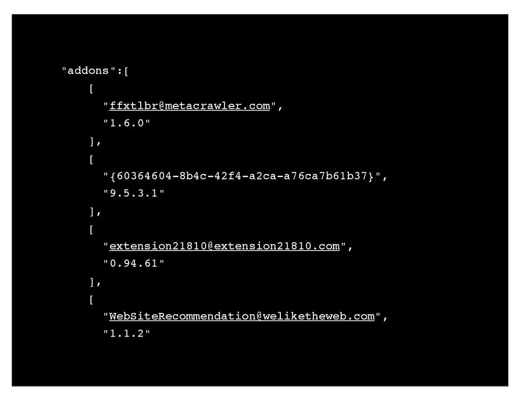 """""""addons"""":[ [ """"ffxtlbr@metacrawler.com"""", """"1.6.0""""..."""