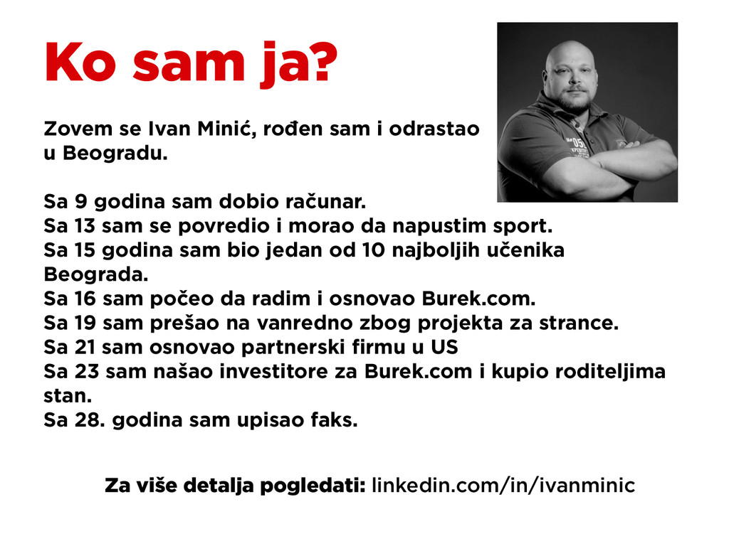 Ko sam ja? Zovem se Ivan Minić, rođen sam i odr...