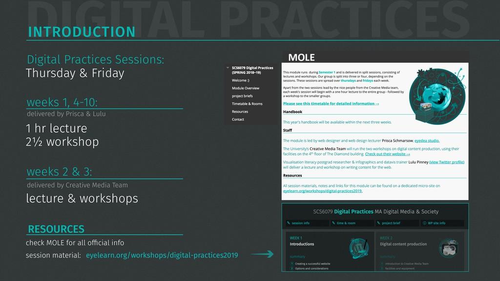 DIGITAL PRACTICES INTRODUCTION 1 hr lecture 2½ ...