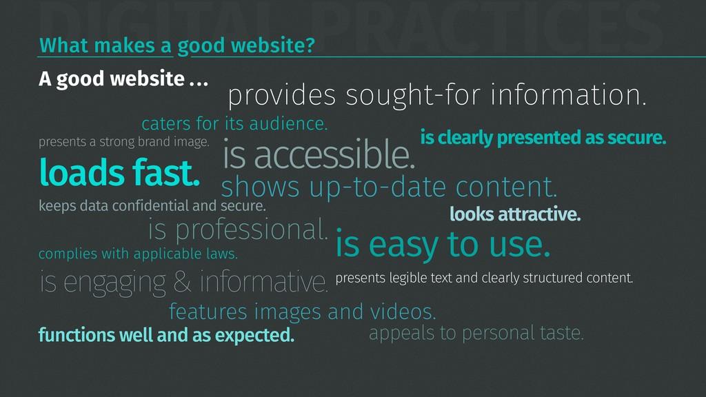 DIGITAL PRACTICES What makes a good website? pr...