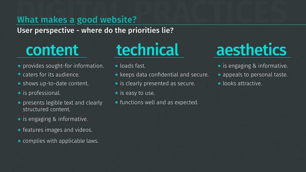 DIGITAL PRACTICES What makes a good website? co...
