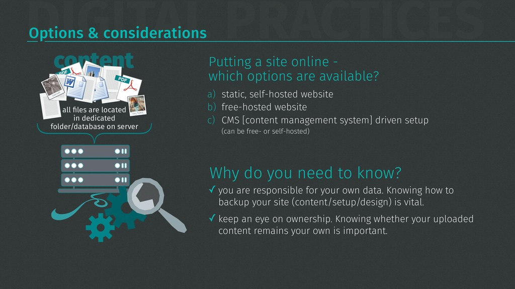 DIGITAL PRACTICES Options & considerations a) s...