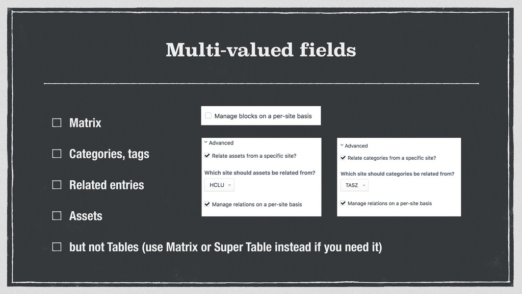 Multi-valued fields Matrix Categories, tags Rel...