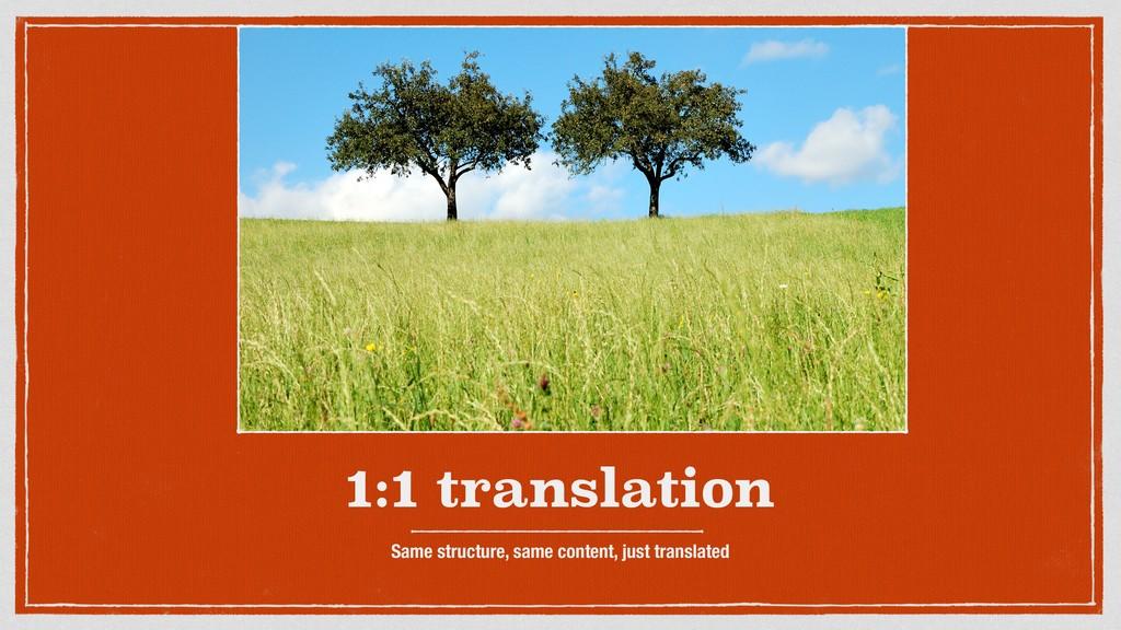 1:1 translation Same structure, same content, j...