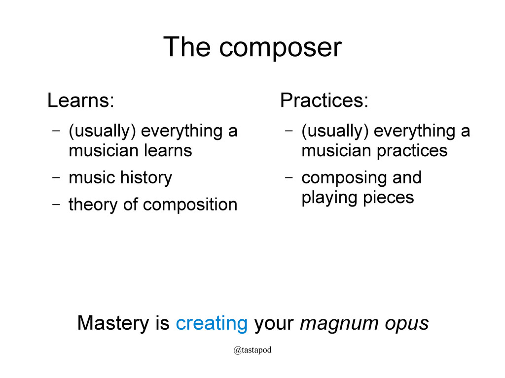 @tastapod The composer Learns: – (usually) ever...