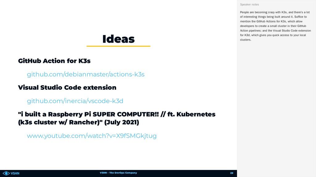 VSHN – The DevOps Company GitHub Action for K3s...
