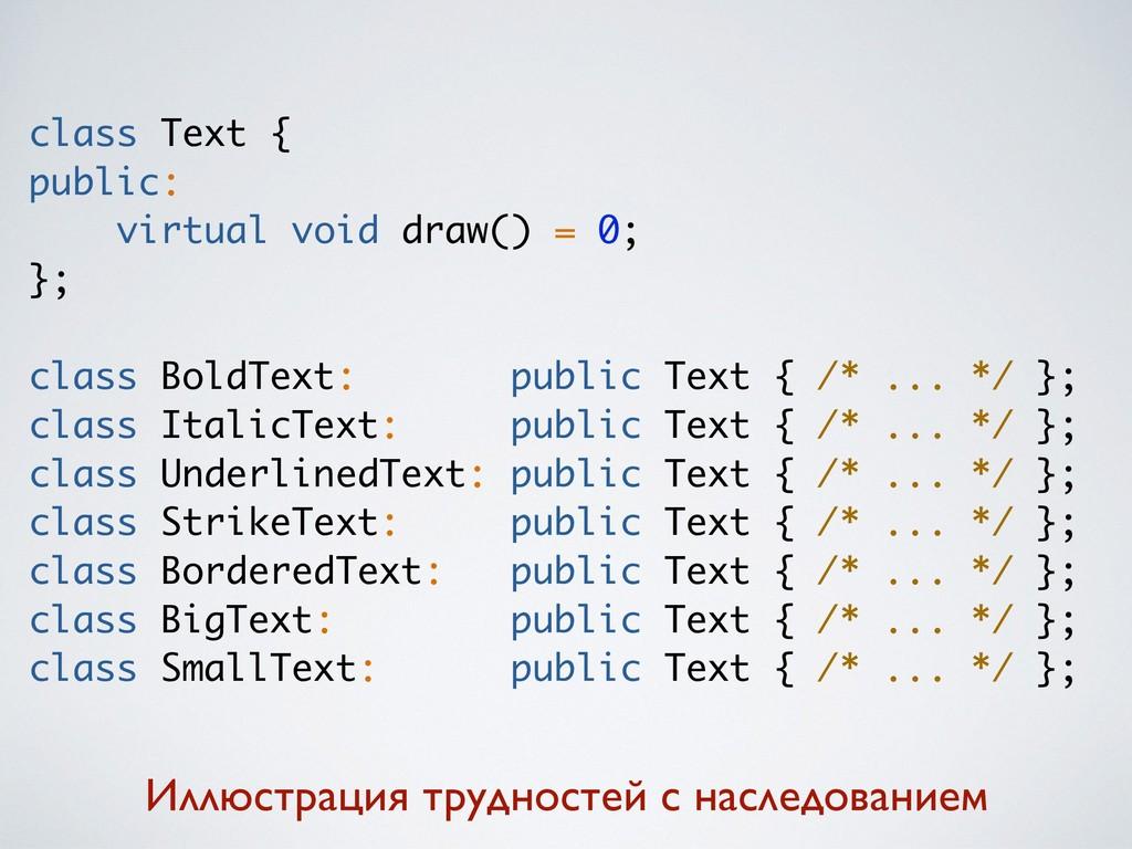 class Text { public: virtual void draw() = 0; }...