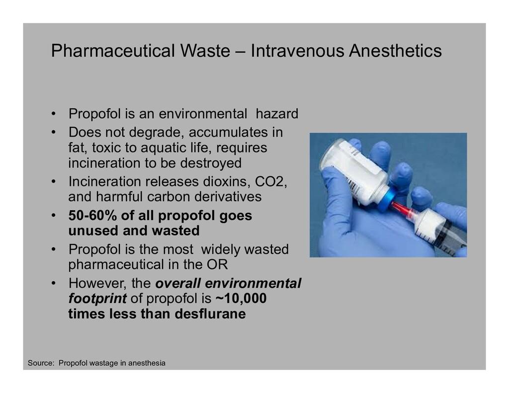 Pharmaceutical Waste – Intravenous Anesthetics ...
