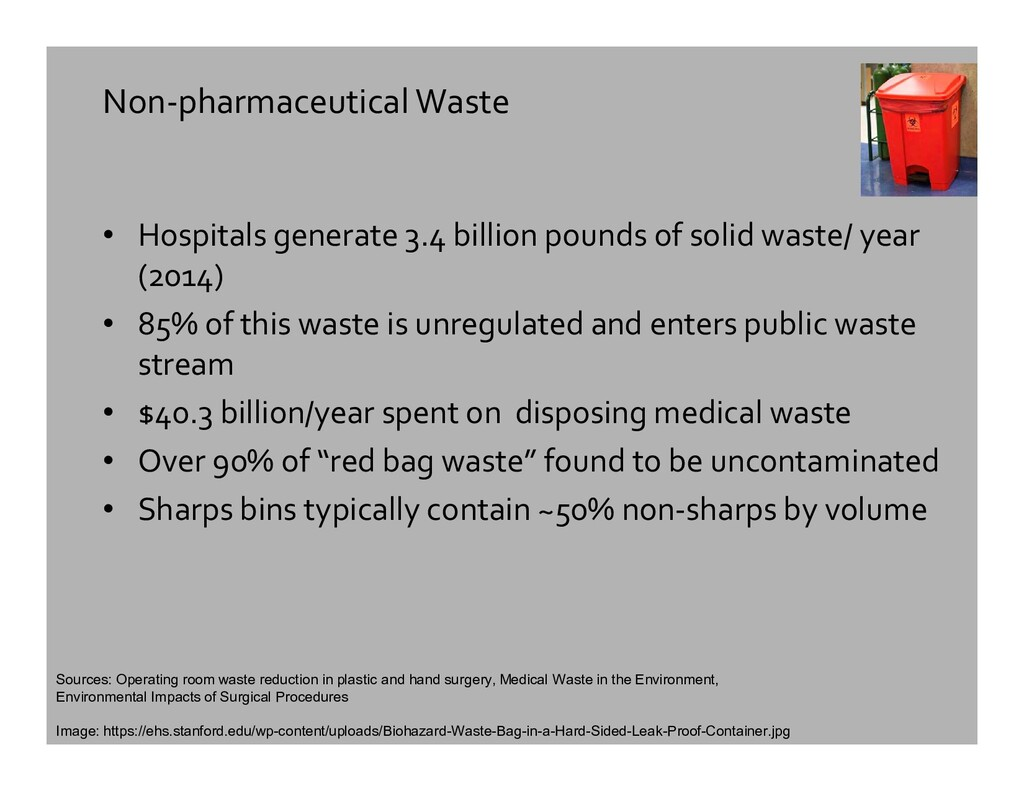 Non-pharmaceutical Waste • Hospitals generate 3...