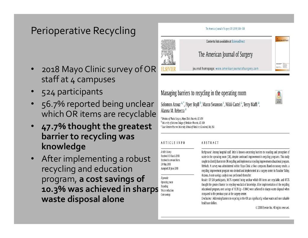 Perioperative Recycling • 2018 Mayo Clinic surv...