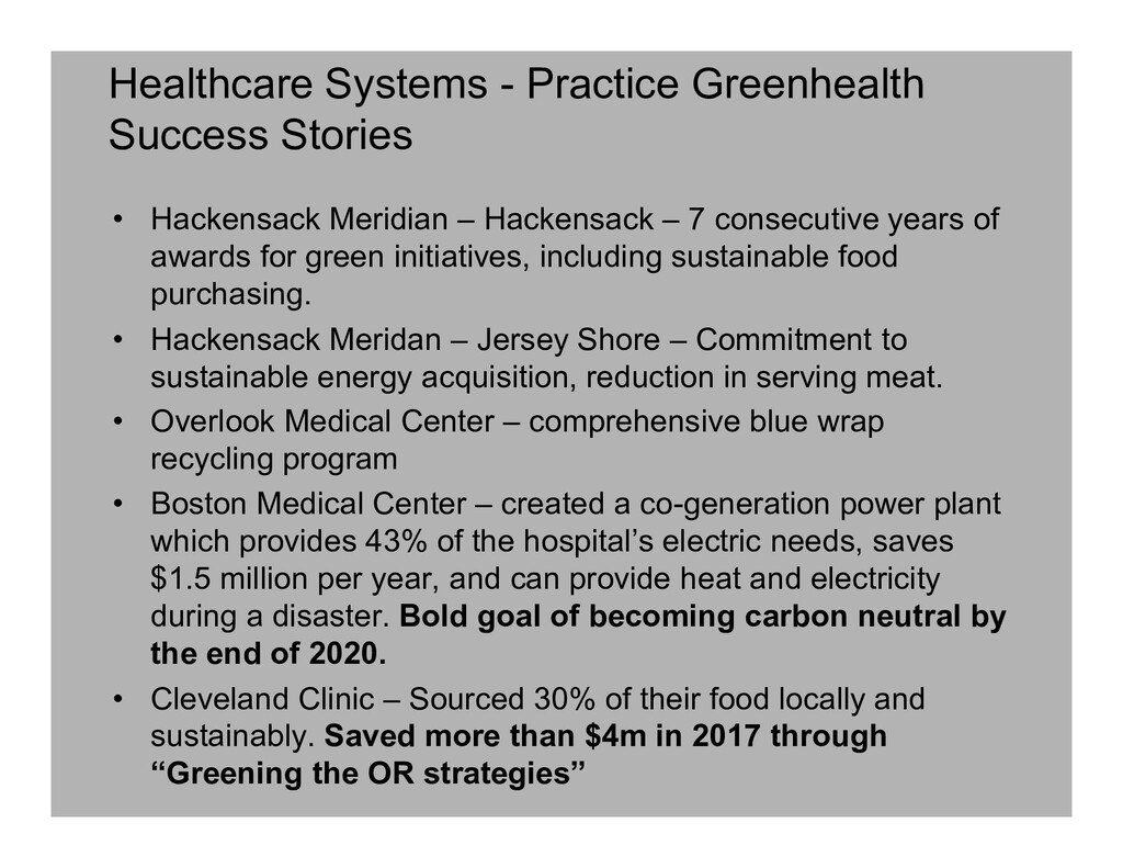 Healthcare Systems - Practice Greenhealth Succe...