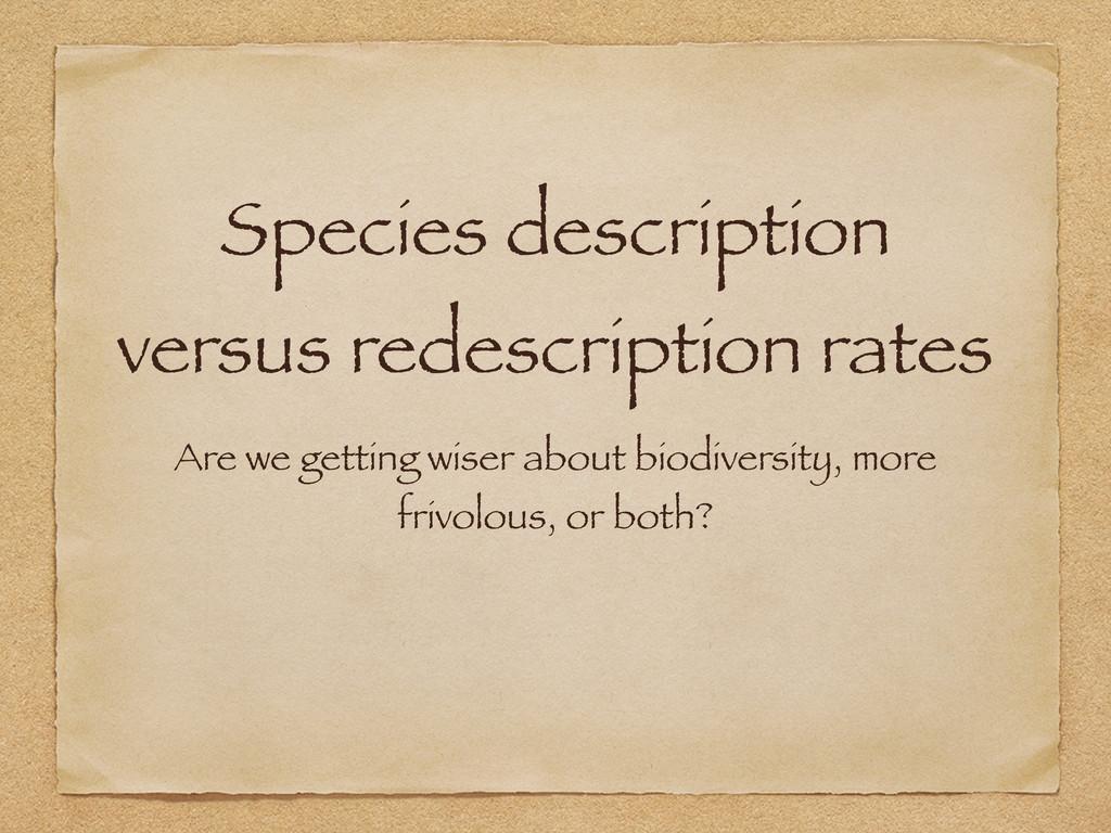 Species description versus redescription rates ...