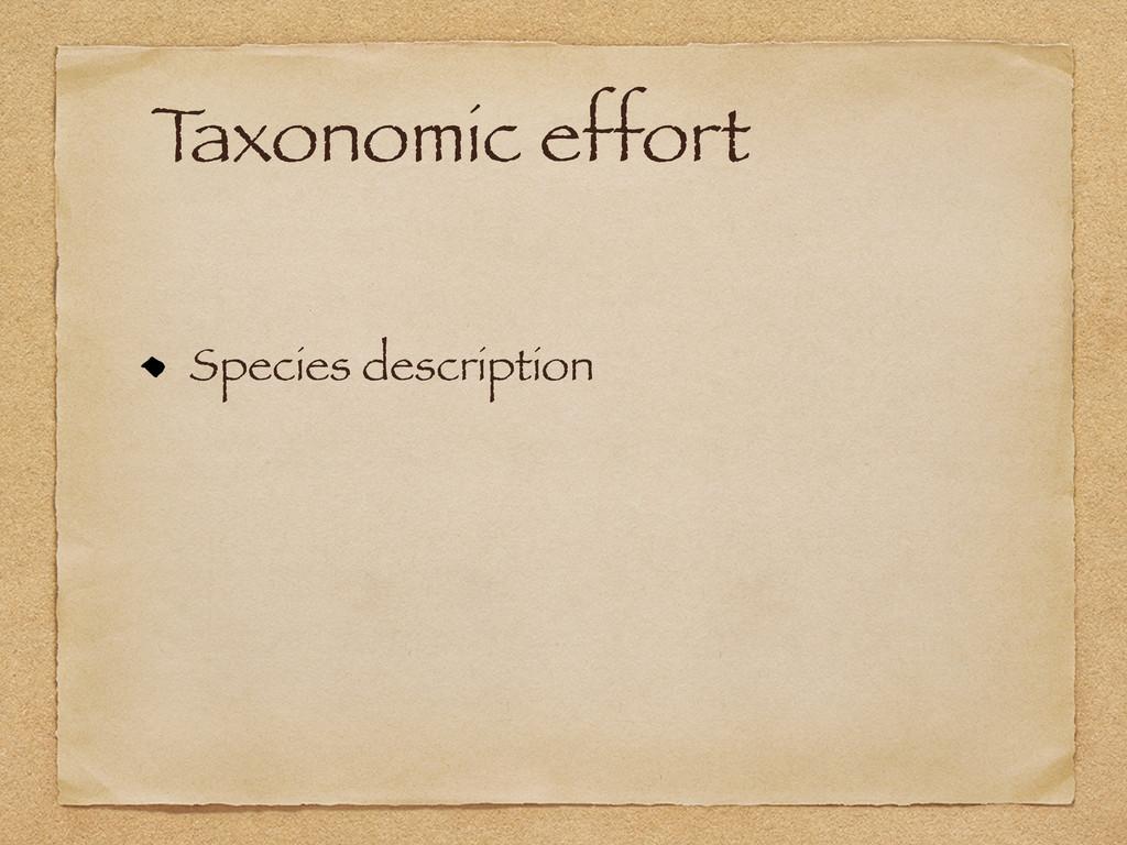 T axonomic effort Species description