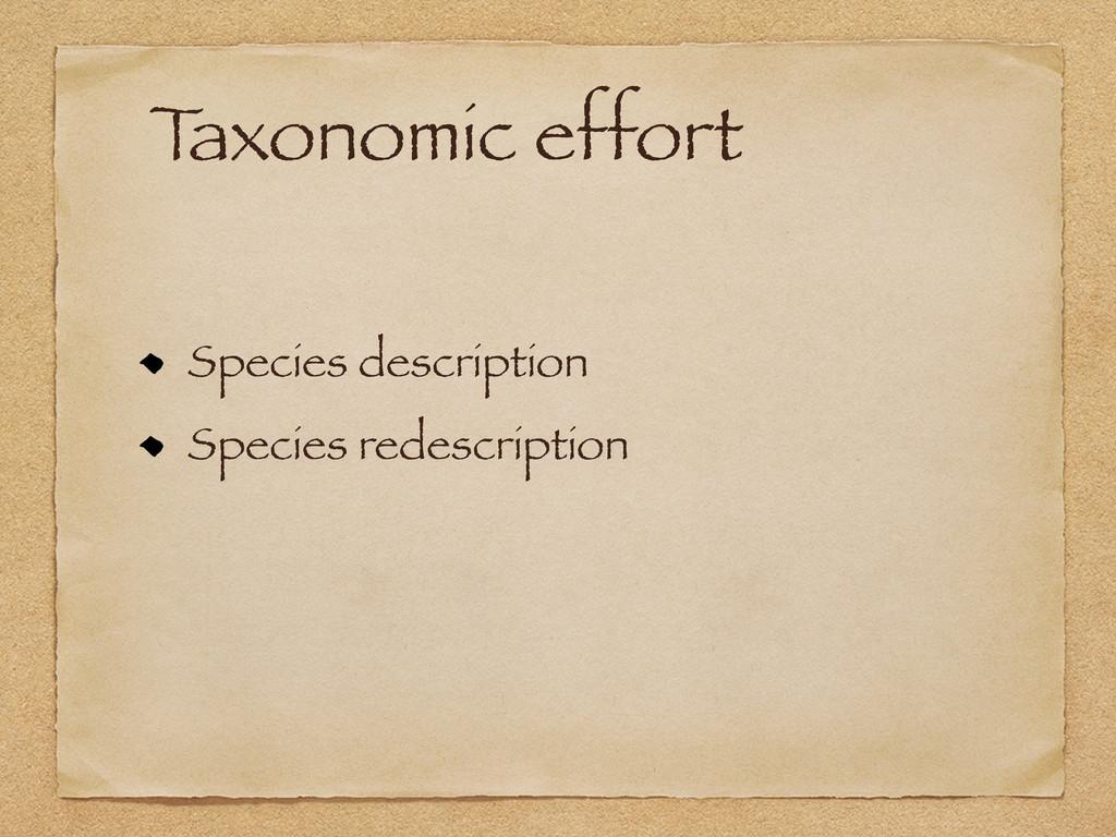 T axonomic effort Species description Species r...