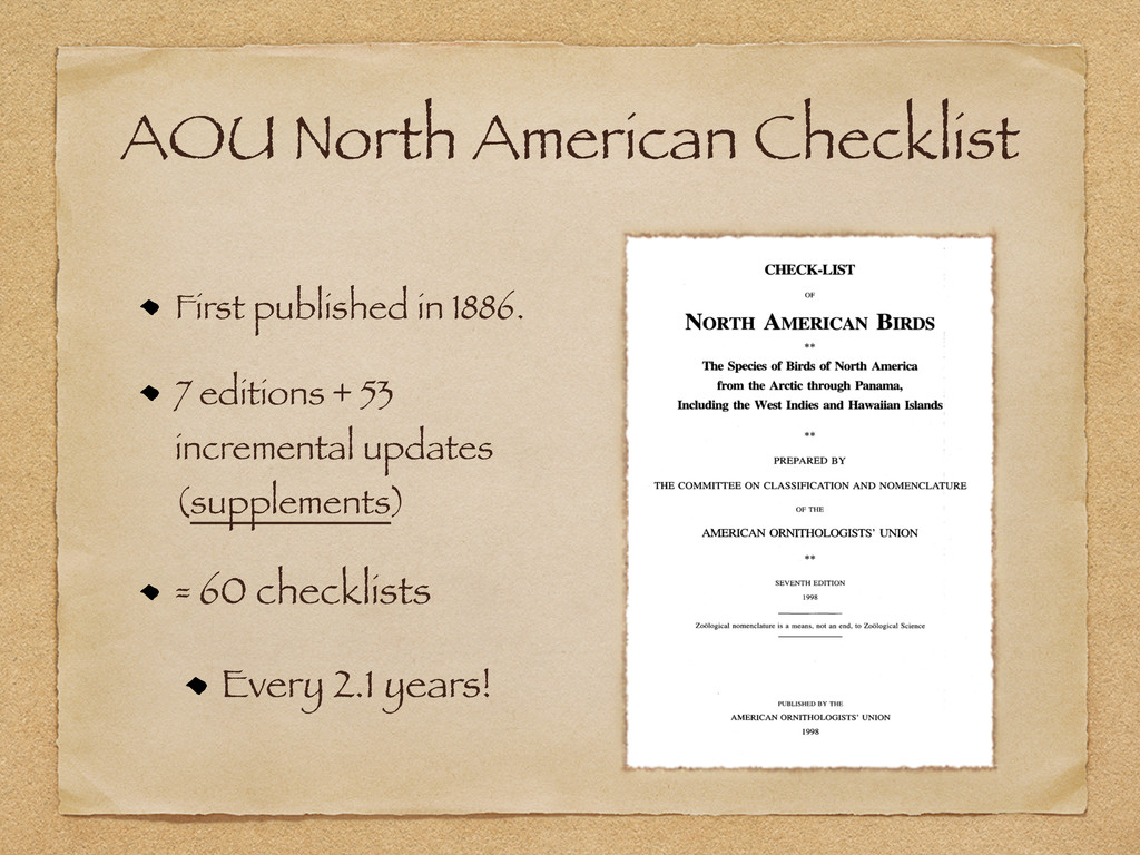 AOU North American Checklist First published in...